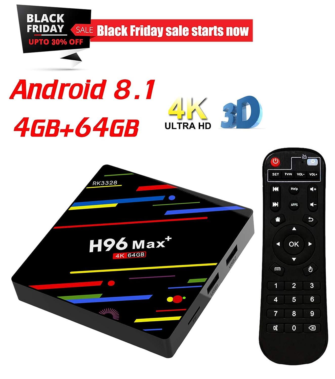 KUAK Android 8.1 TV Box RAM 4GB ROM 64GB H96 Max Plus Rockchip RK3328 Quad Core 64bit CPU WiFi 2.4G USB 3.0 HDMI 2.0a for 4k 60Hz H.265 HDR10 Ultra HD Playback AoXiong E-Commerce Co. Ltd T95U PRO
