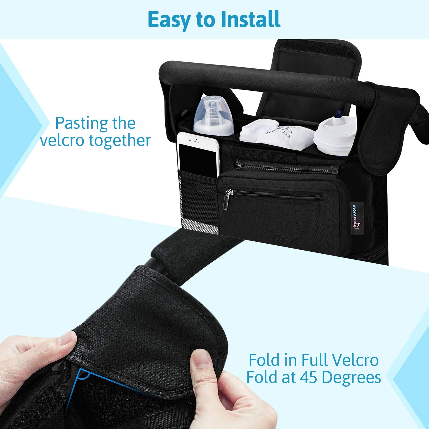 Universal Stroller Organizer, Momcozy Insulated Stroller Cup Holders, Detachable Phone Bag & Shoulder Strap, Fits for Stroller Like Uppababy, Baby Jogger, Britax, Bugaboo, BOB, Umbrella by Momcozy (Image #5)