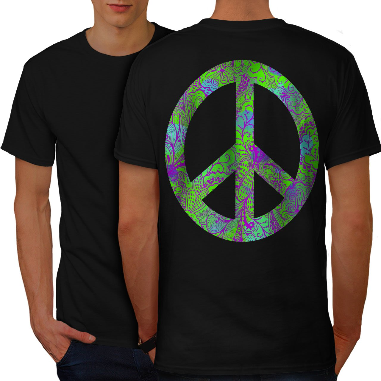 wellcoda Hippie Peace Forever Mens T-Shirt, Freedom Design Print on The BackBlack L