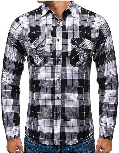 SO-buts Hombres Otoño Invierno Moda Camisa a Cuadros De Manga Larga Casual De Negocios Slim Solapas Camisa Tops Blusa: Amazon.es: Ropa y accesorios