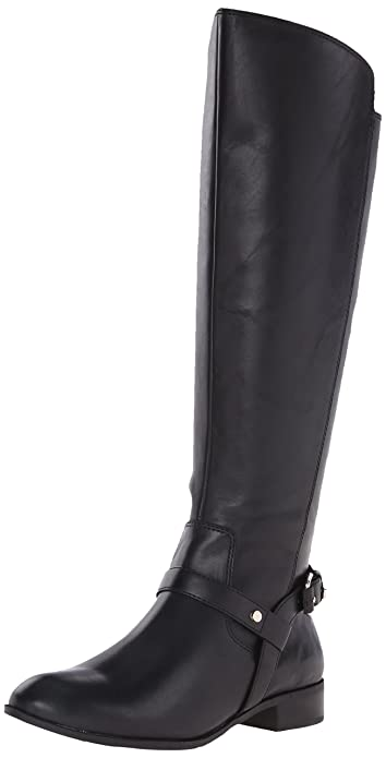 Anne Klein Women's Kahlan Leather Riding Boot, Black Leather, ...