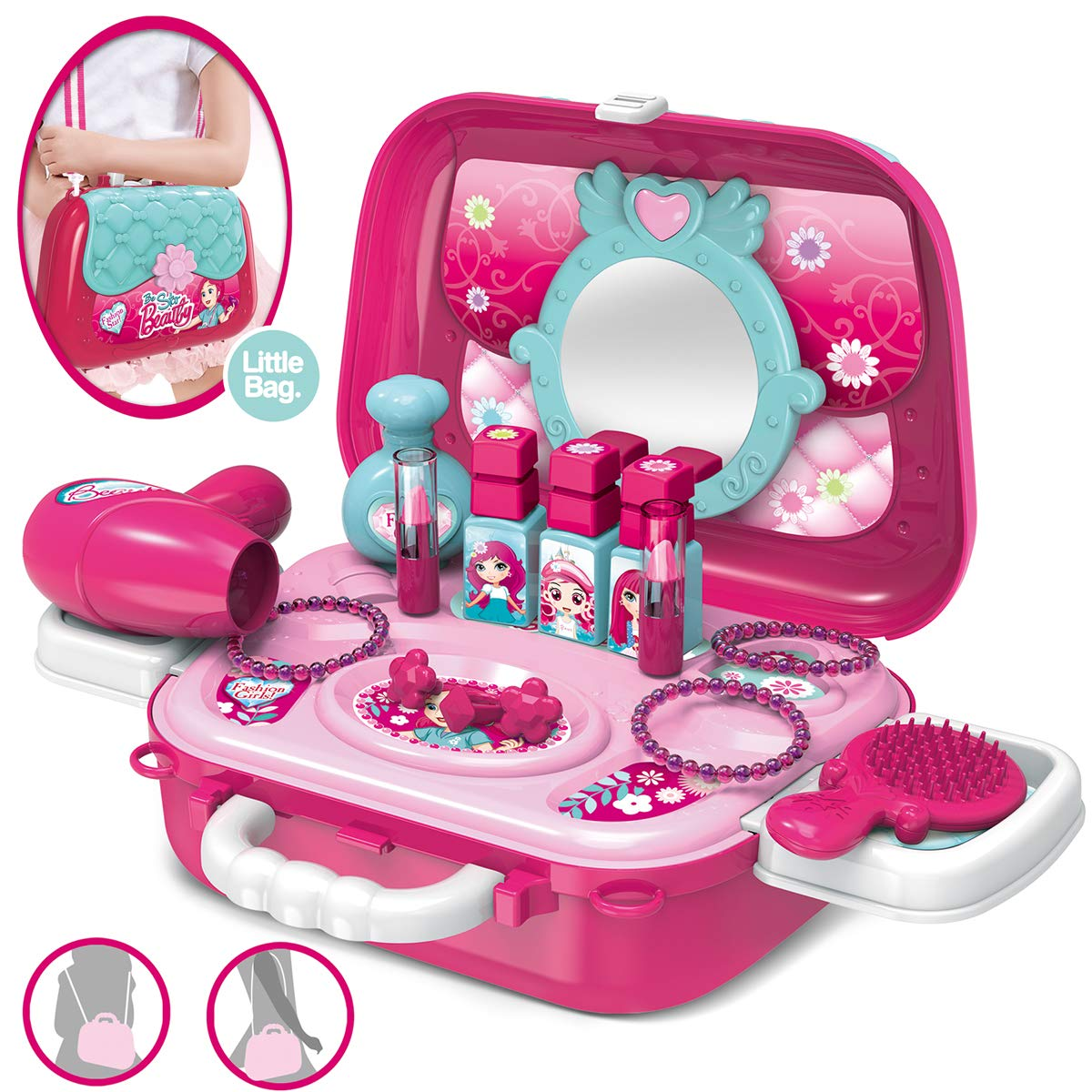 Role Play Jewelry Kit for Girls Toy Set 2 in 1 Princess Bag Gift for Girls Kids 3 Years Old by YIMORE