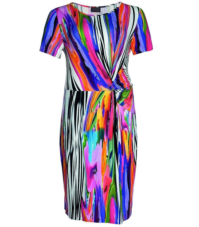 langes Sommerkleid für Mollige A-Linie bunt kurzarm von Sempre Piu Chalou, Kleid Maxikleid Große Größen