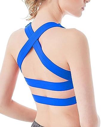 YIANNA Sujetador Deporte Yoga con Relleno Extraíble Cruz Transpirable Top Sujetadores Gimnasio Deportivo para Mujer: Amazon.es: Ropa y accesorios