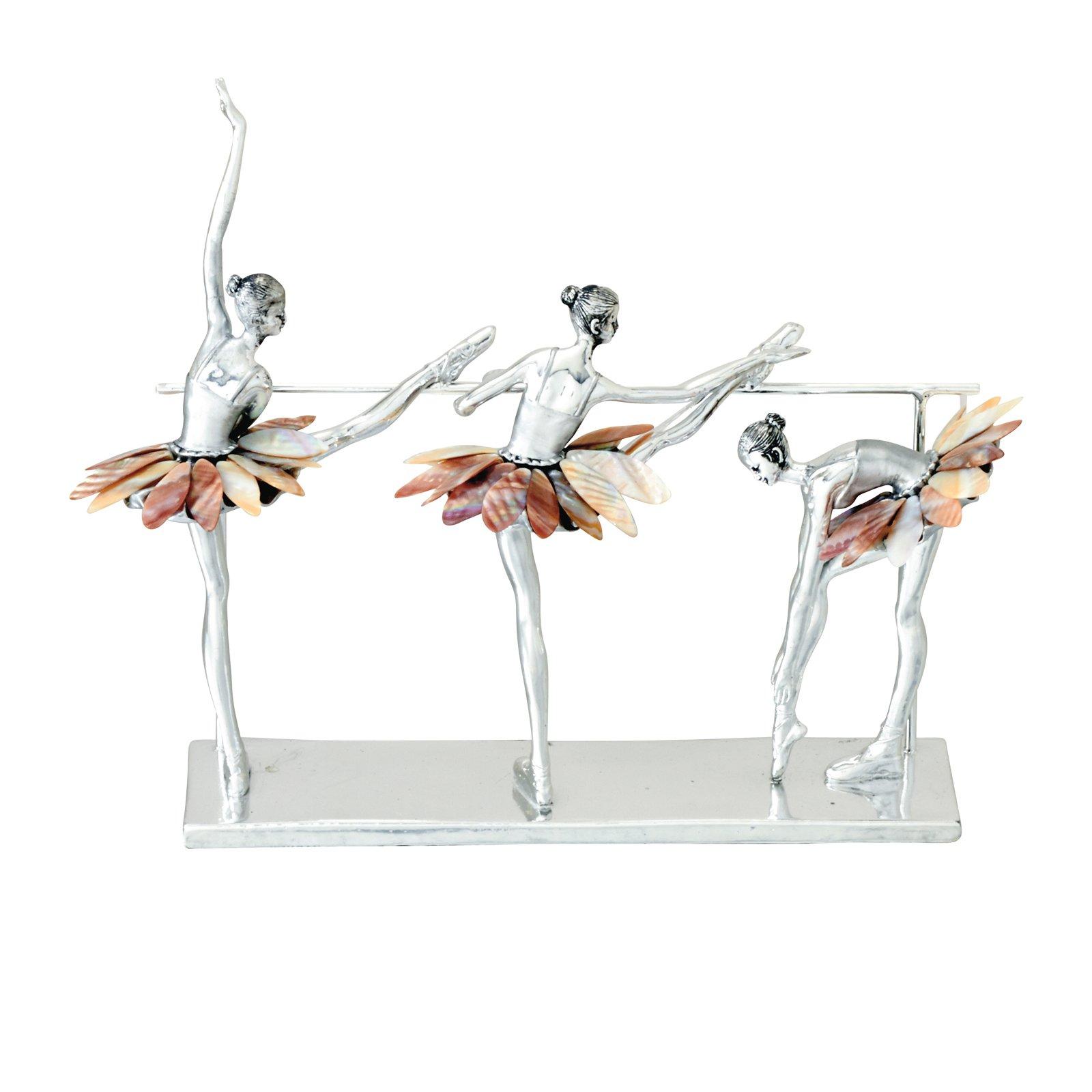 Urban Designs 7777244 Decorative Three Ballet Dancers Figurines Silver
