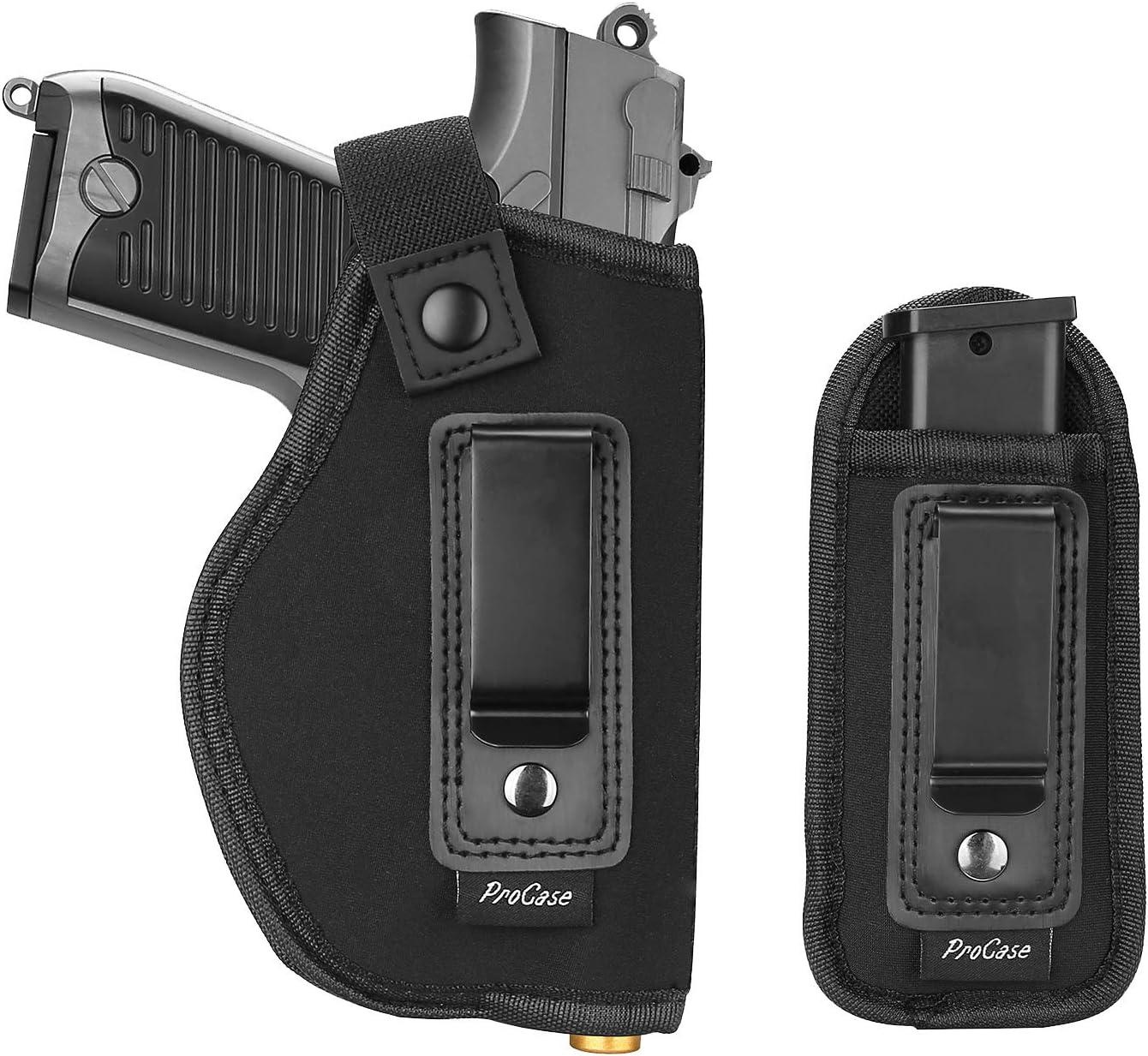 Procase Pistolera y Bolsillo Cargador, Funda Pistola Compacta y Porta Cargador Adicional, para Shield Glock Ruger Springfield y Arma de Fuego