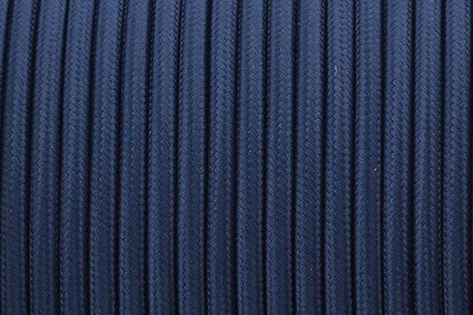 2 CORE 0,75 mm Navy Blau – Antik geflochten rund gewebte Seide Stoff ...