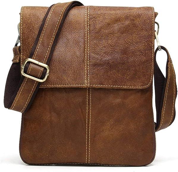 Leather Mens Bag Mens Leather Fashion Retro Handbag Shoulder Messenger Bag Multi-Function Backpack Portable Shoulder Bag Short-Distance Travel Bag