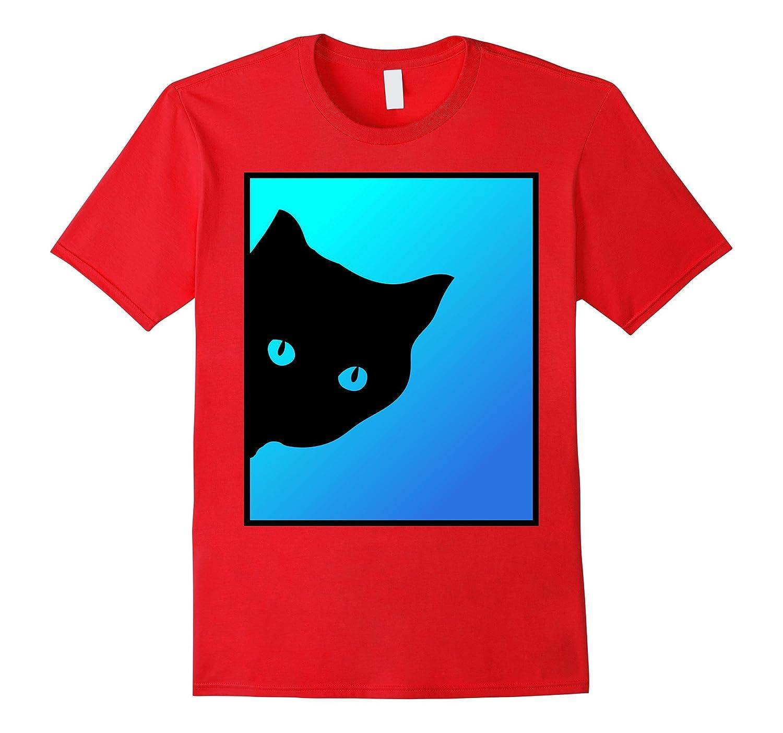 Black Cat Blue Green T shirt-Art