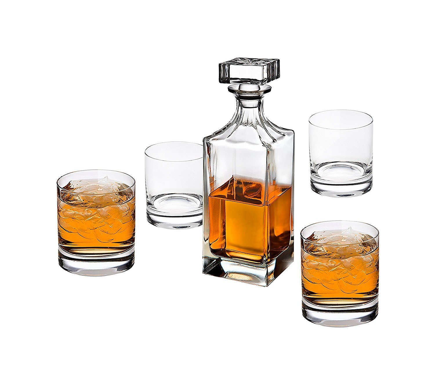 Godinger Glass 5-Piece Social Whiskey Decanter and Double Old Fashioned Set