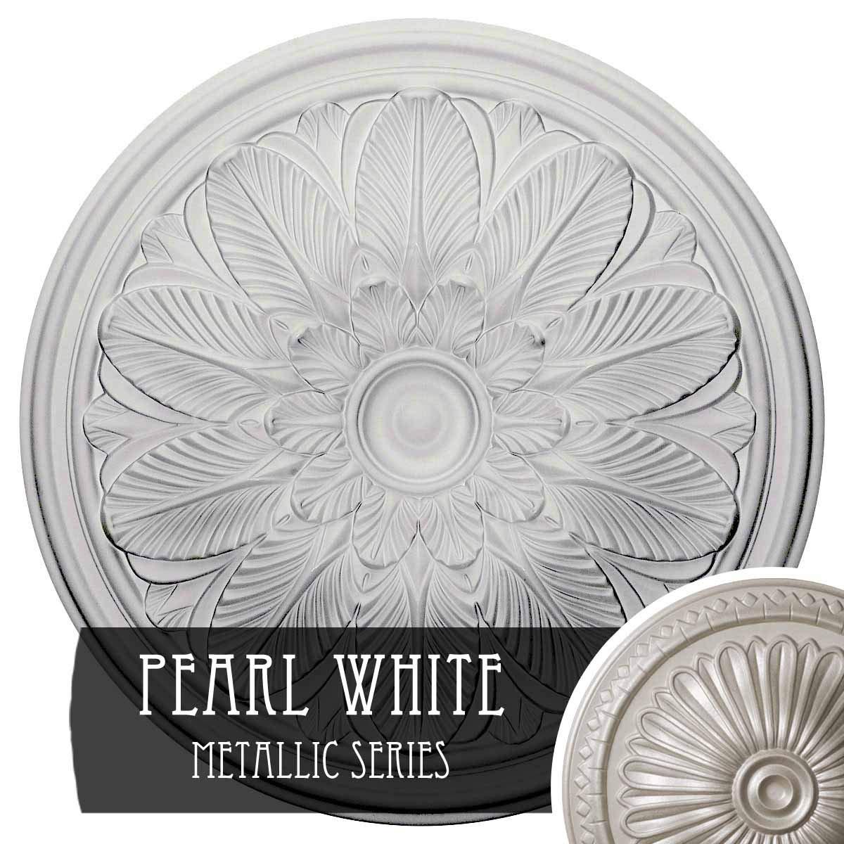 Ekena Millwork CM22BOPWS Bordeaux Ceiling Medallion, 22-5/8'' x 1-3/4'', Pearl White