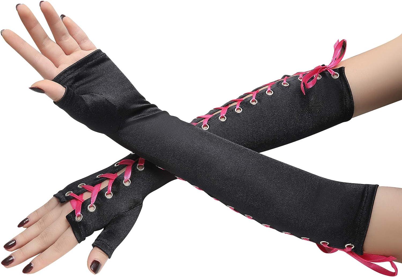 Coucoland Handschuhe Damen Lang mit Senkel Opera Fest Party Gotisch Handschuhe Damen Fasching Kost/üm Accessoires