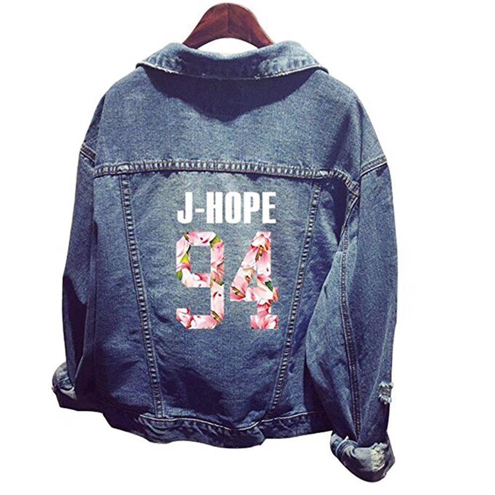 Bangtan BTS Boys Official Same Style Long Sleeve Denim Outerwear Coat Jacket J-HOPE S