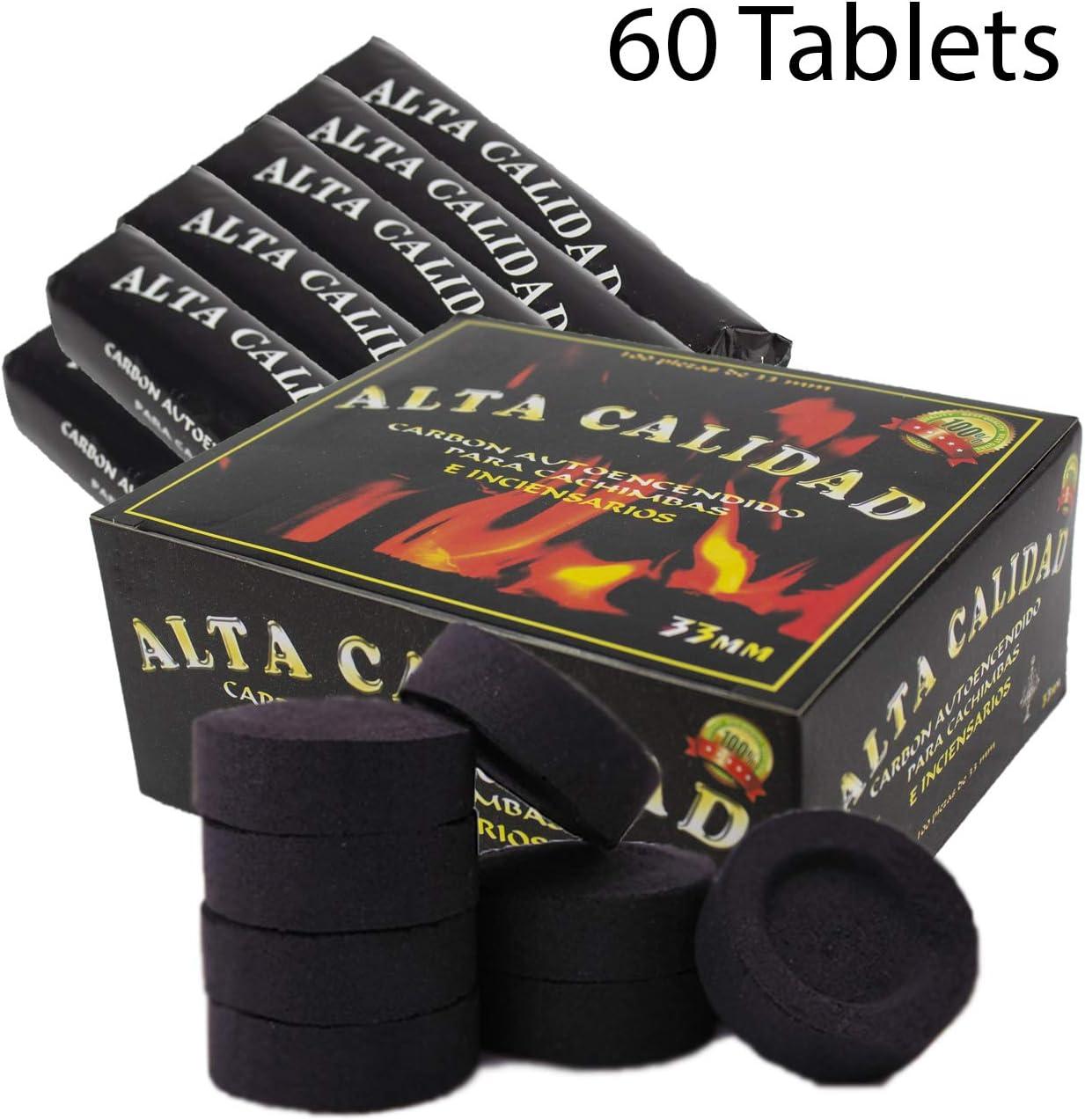 SFY Pack Carbón para cachimba, shisha, hookah, narguile e incensario (60 pastillas)