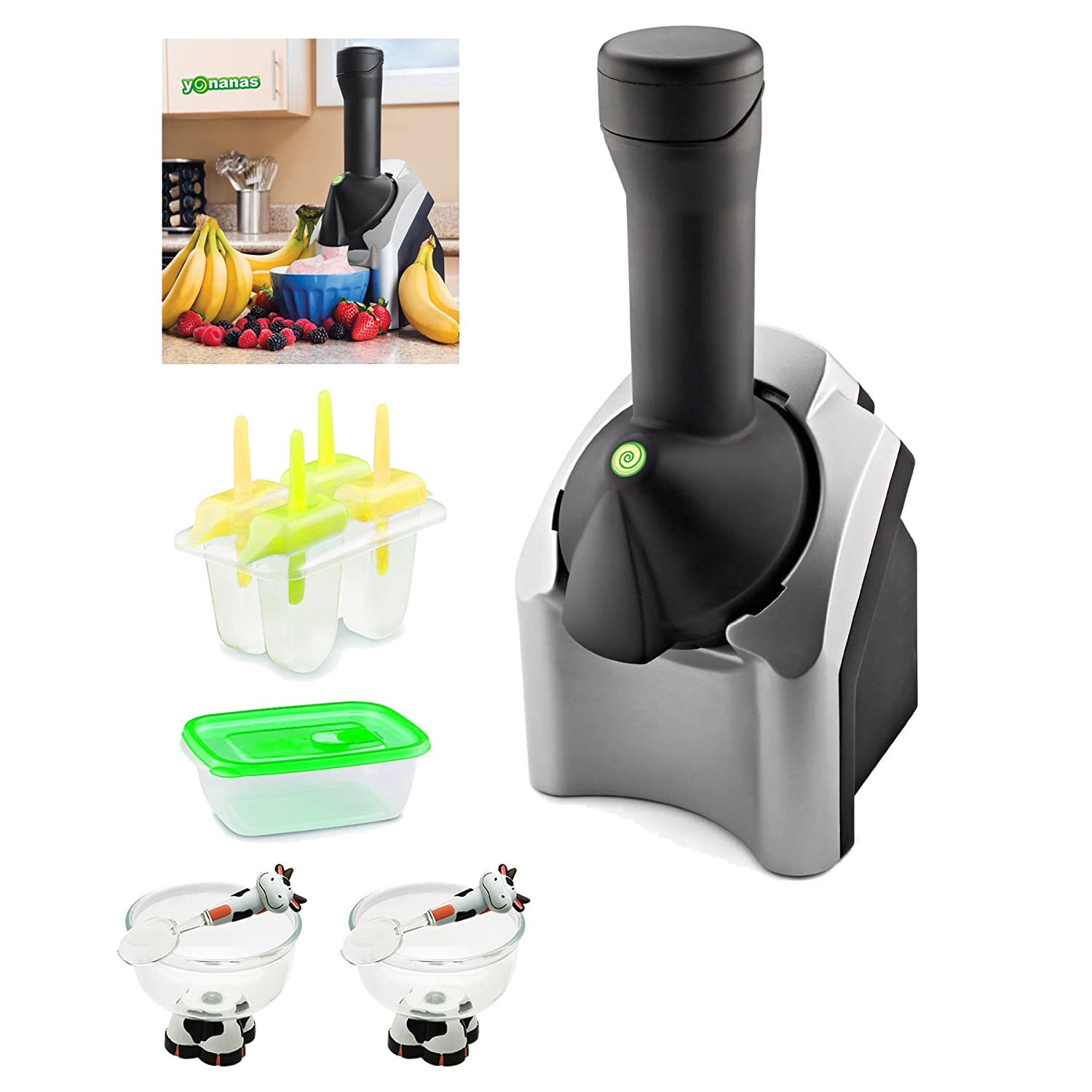 Yonanas 901 Deluxe Frozen Treat Maker with Cute Brutes Ice Cream Bowl and Spoon 2-Pack