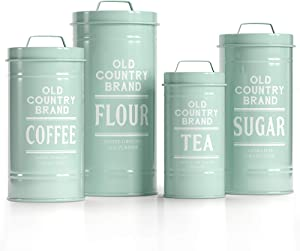 "Barnyard Designs Decorative Nesting Kitchen Canister Jars with Lids, Mint Metal Rustic Vintage Farmhouse Container Decor for Flour Sugar Coffee Tea Storage, Set of 4, Largest is 5.5"" x 11.25"""