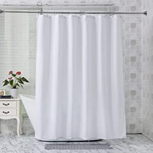 Amazer Fabric Shower Curtain Liner, White Polyester Fabric Shower Curtain Liner Bathroom Shower Curtains, Water Proof, Hotel Quality, 72 x 72 Inches