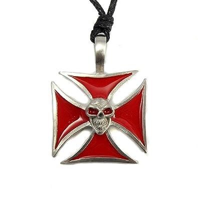 Urban Hq Pewter Red Maltese Cross Skull Biker Gothic Punk Surfer