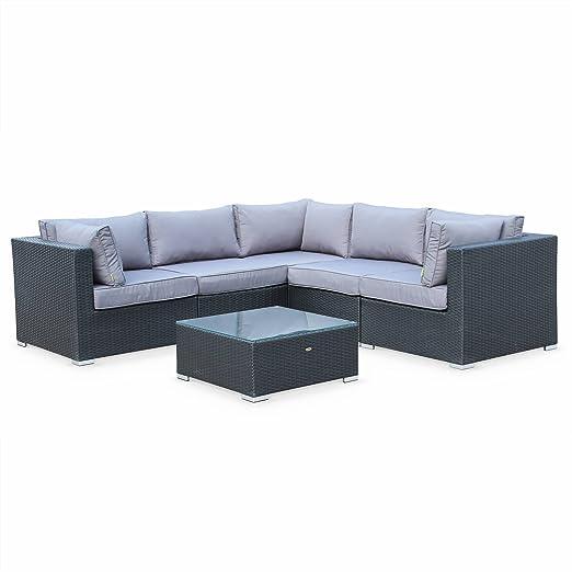 Salon de Jardin en résine tressée - Napoli - Noir, Coussins Gris - 5 Places  - 2 fauteuils sans accoudoir, 3 fauteuils d\'angle, Une Table Basse