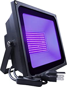 SHPODA 120W LED Black Light,Outdoor Flood Light,with Plug and switch(5ft Cable),IP66 Waterproof,for Blacklight Party,Halloween,Body Paint,Fluorescent Poster,Birthday Party