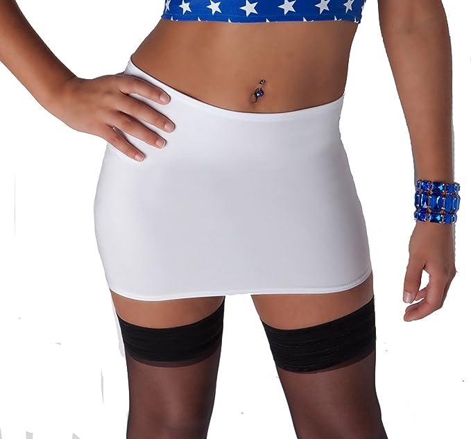 S31 de color blanco Micro Mini nailon y licra para faldas de mujer ...
