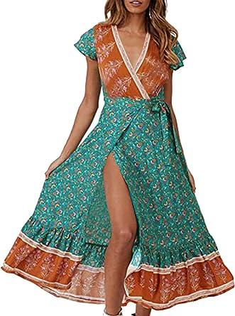 Floral Print Blue Cotton Dresscasual dressa line dress with belt loop.