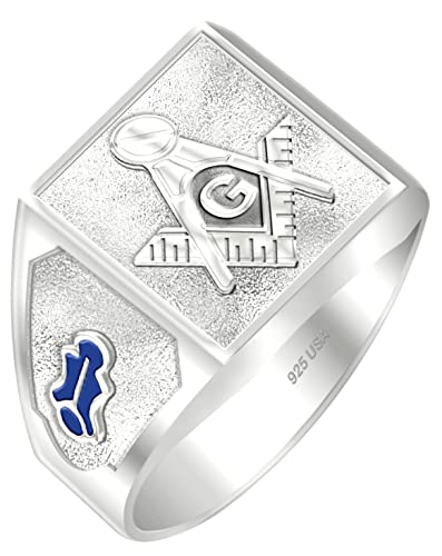 aa5e6bd0d Customizable Men's Blue Lodge 0.925 Sterling Silver or Vermeil Gold Plated Freemason  Masonic Ring, Sizes 8 to 14 Amazon.com