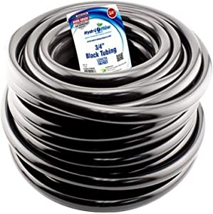 "Hydro Flow 100 ft Roll Vinyl Tubing, Black - 3/4"" ID x 1"" OD"