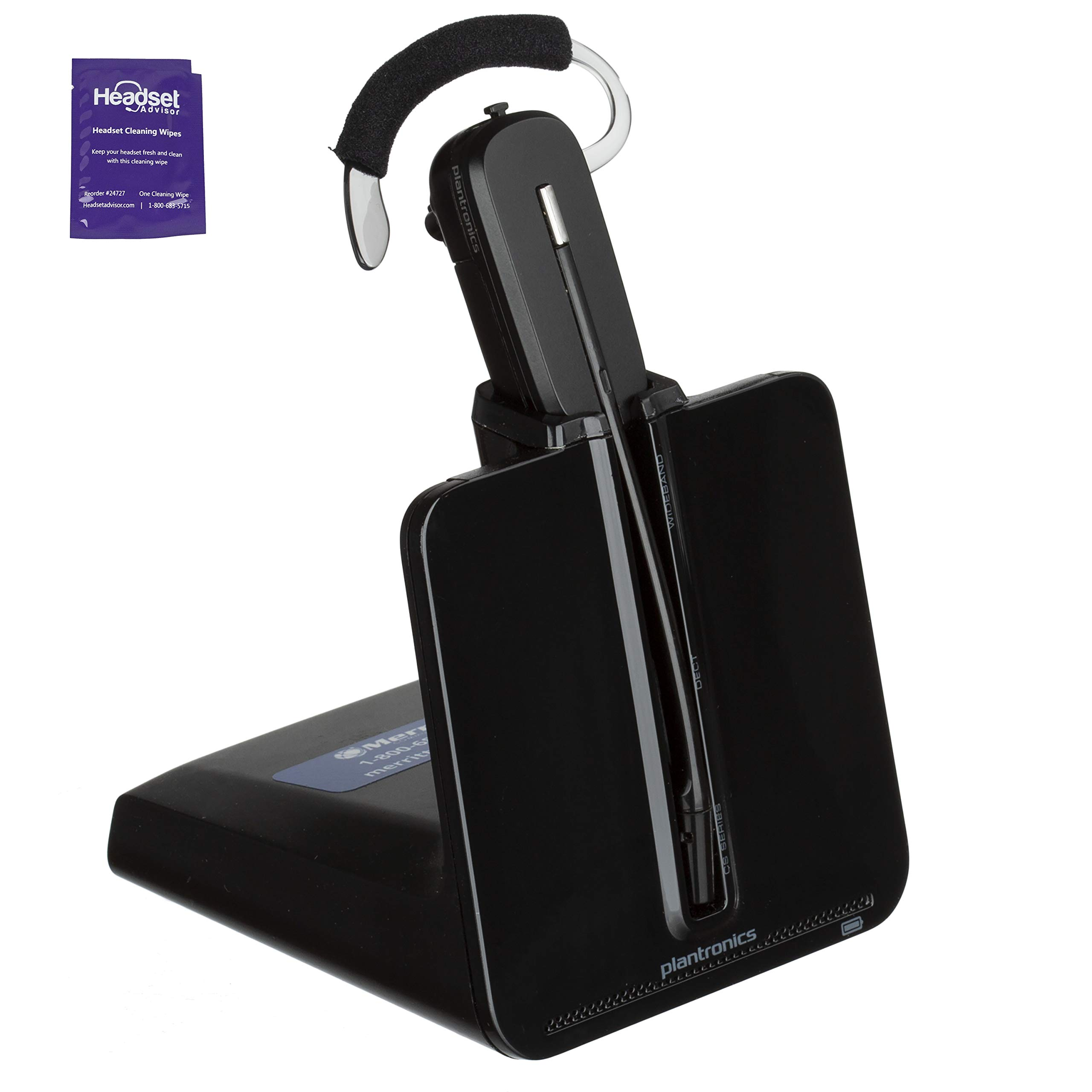 Plantronics CS540 Wireless Office Headset Bundle with Headset Advisor Wipe (Renewed) by Plantronics