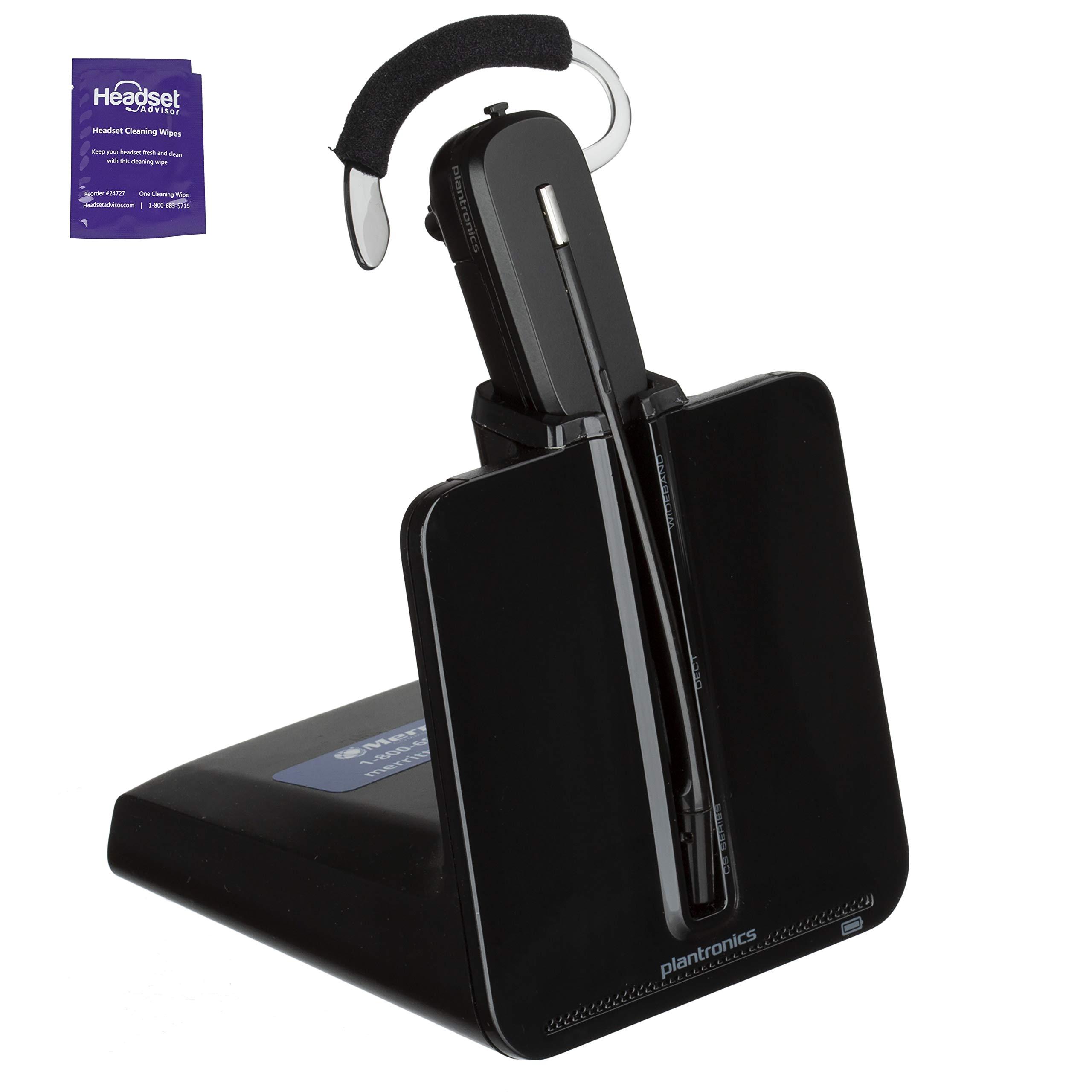 Plantronics CS540 Wireless Office Headset Bundle with Headset Advisor Wipe (Renewed)