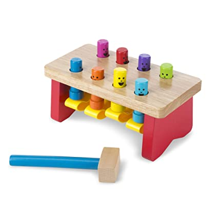 Melissa Doug Deluxe Pounding Bench Wooden Toy With Mallet