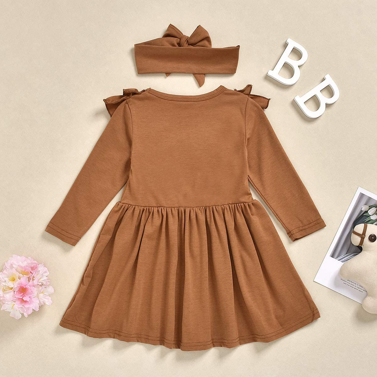 CM C/&M WODRO Toddler Christmas Dresses Fall Winter Baby Girl Dress Outfit Clothes Cotton Ruffled Pullover Dress
