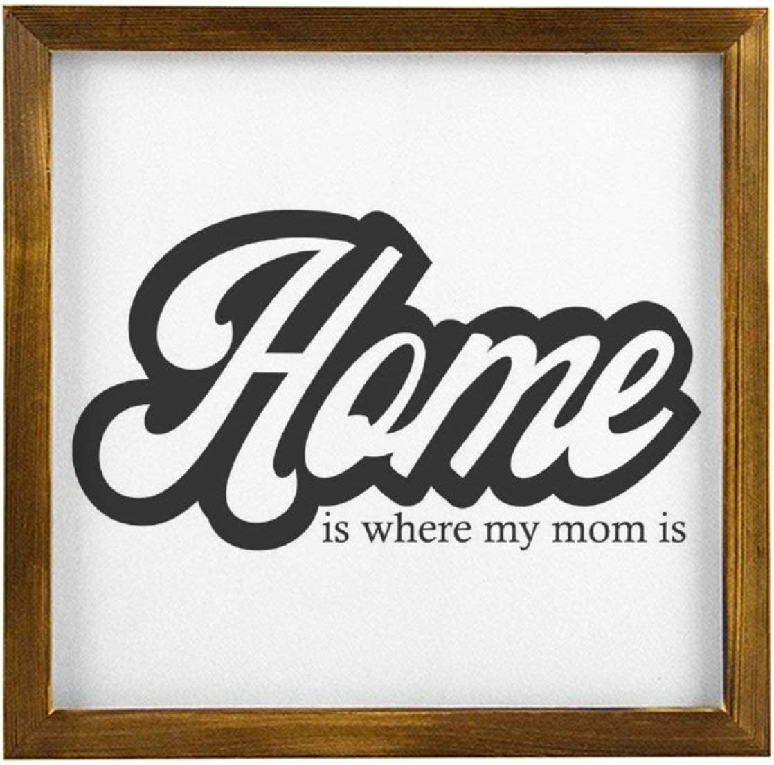 BYRON HOYLE Framed Wood Sign Home is Where My Mom is Home Mom Funny Cute Designs Quote Wall Hanger Wooden Sign Wall Art Home Decor Sign Bedroom Living Room Sign Best Present 3030cm