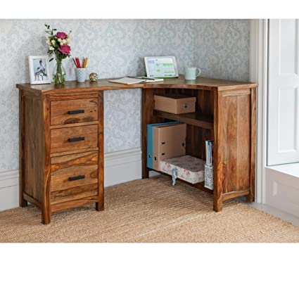 wooden corner desk. Naturehood Wooden Corner Desk ✮ Office Work Station / Study Table ✮100 % Sheesham Wood