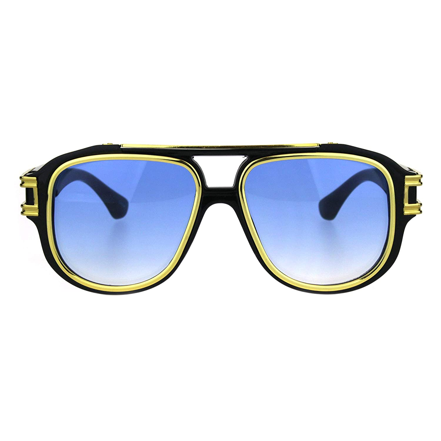 4c80ee24a9 Mens vegas pimp racer retro vintage plastic sunglasses black gold blue  clothing jpg 1500x1500 Mens plastic