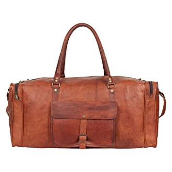 7f57526ae7dc Leather Duffel Vintage Holdall Luggage Travel Bag for Men Women Handmade Gym  Sports Weekend Overnight Bag