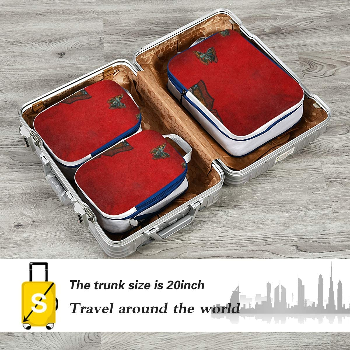 Butterfly 3 Set Packing Cubes,2 Various Sizes Travel Luggage Packing Organizers e3