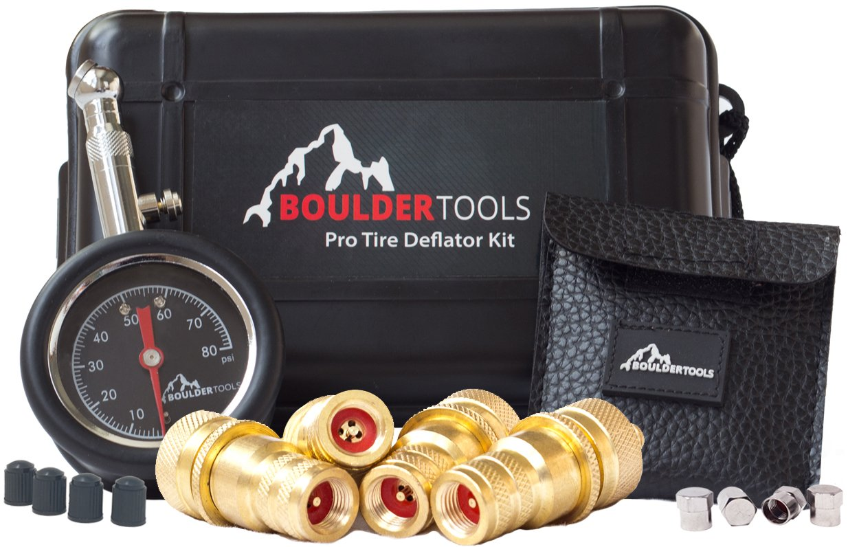 Boulder Tools Tire Deflators and 80 PSI Tire Pressure Gauge - Adjustable, Automatic for car, truck, motorcycle