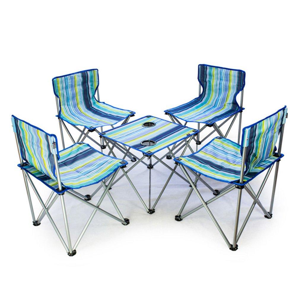 QIANGDA 屋外/アウトドア 折りたたみ テーブル椅子 5セット オックスフォード布 鋼管 折りたたみ可能 持ち運びが簡単 - 折りたたみ:73 x 20 x 24 cm、 3色 オプション ( 色 : 2# ) B07CN1YYGQ 2# 2#