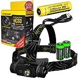 Nitecore HC60 1000 Lumens CREE XM-L2 U2 LED headlamp bundled with NL189 USB rechargeable Li-ion battery & Two EdisonBright CR123A Batteries