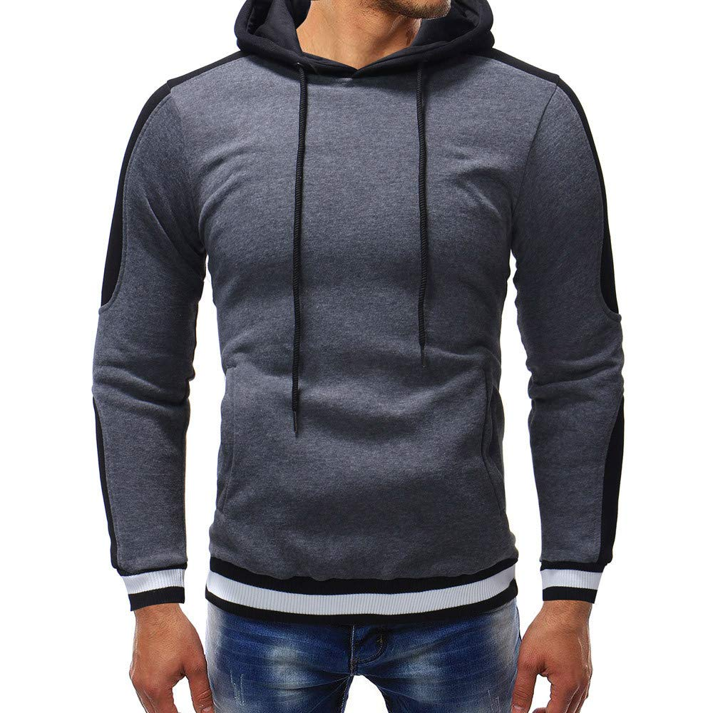 PASATO Clearance Men's Autumn Winter Casual Sports Muscle Long Sleeve Hoodie Top Blouse clothes Pure Color Polo(Gray, XL) by PASATO (Image #1)