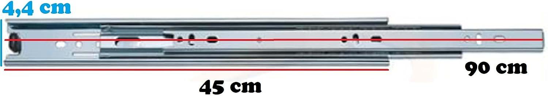 1x par de rieles para cajones 25-49 cm diferentes tama/ños extensi/ón completa cajones lisos y precisos Extracciones de acero