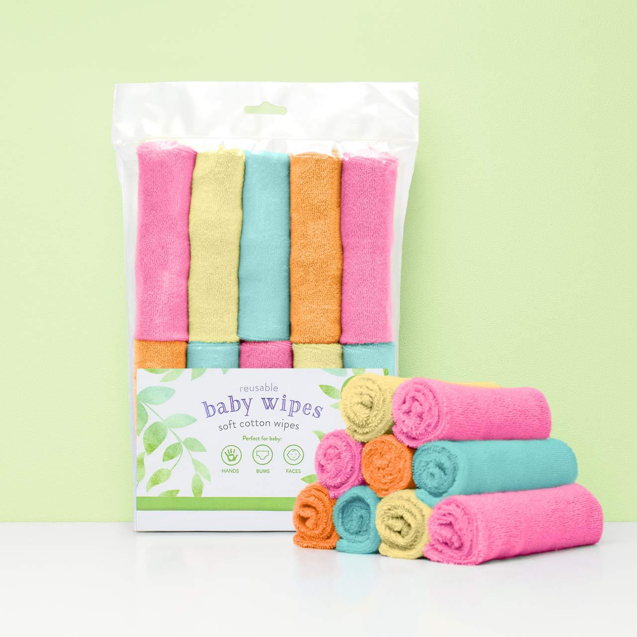 Bambino Mio, toallitas para bebé reutilizables, paquete de 10uds, frambuesa: Amazon.es: Bebé