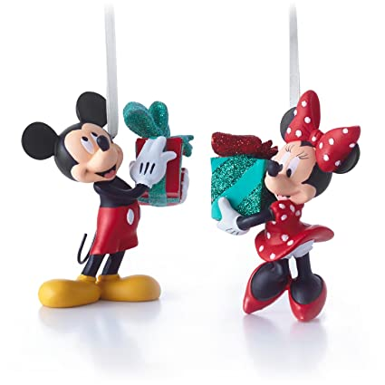hallmark disney mickey and minnie mouse christmas ornaments set of 2 - Mickey And Minnie Christmas Decorations
