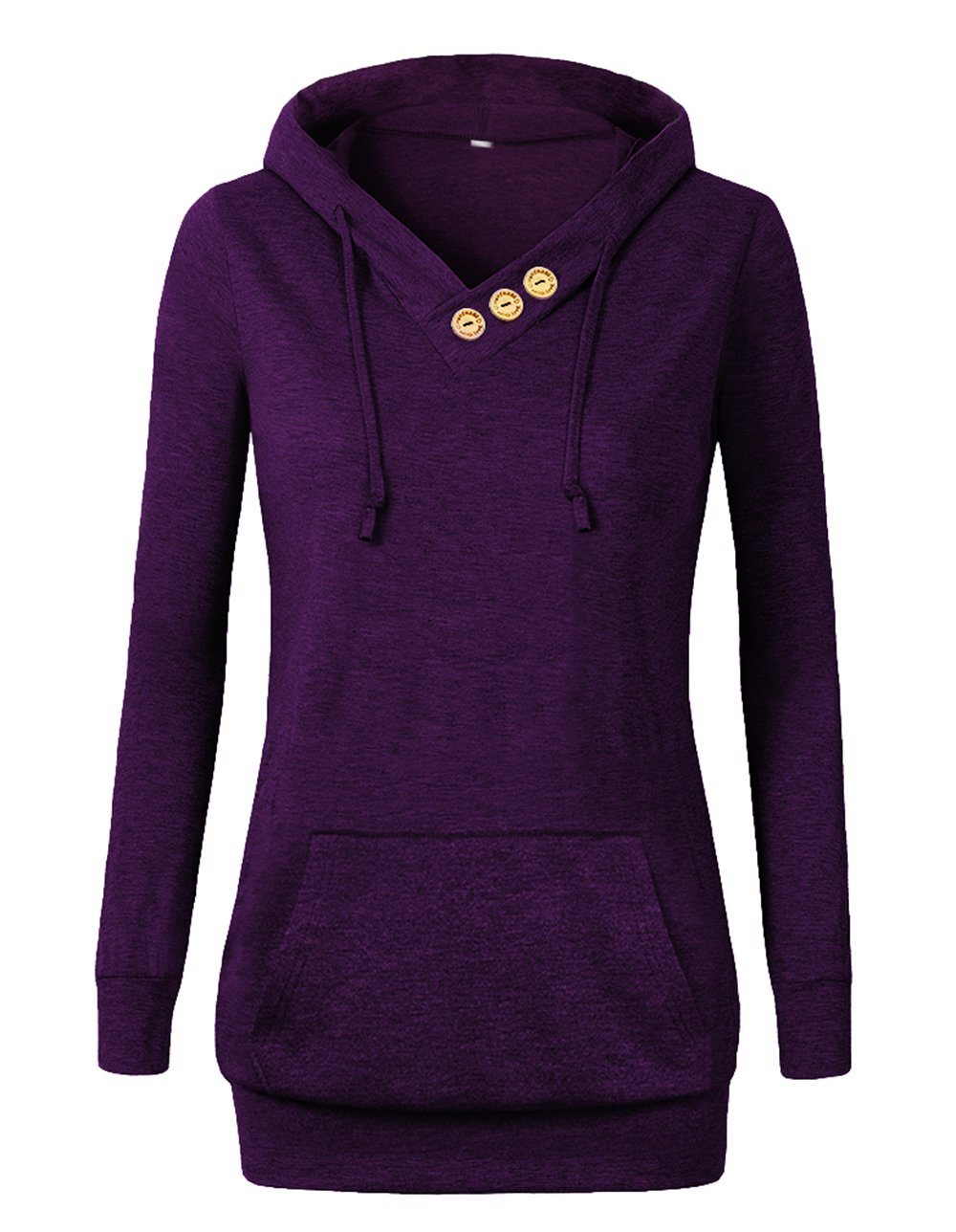VOIANLIMO Women's Sweatshirts Long Sleeve Button V-Neck Pockets Pullover Hoodies Purple XL