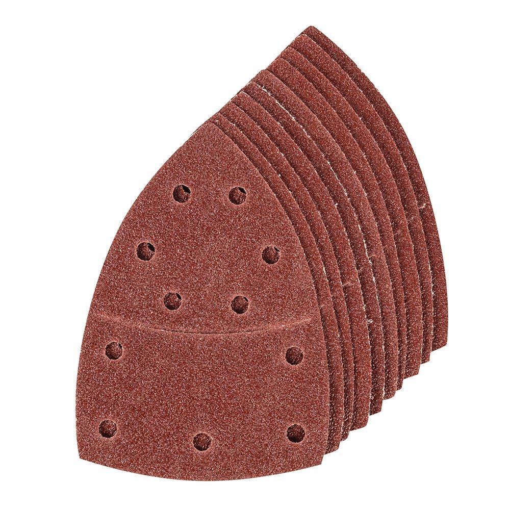 Rojo 102 x 62 mm Silverline 278723 Hojas de Lija autoadherentes para multilijadora 93 mm Set de 10 Piezas 0 V
