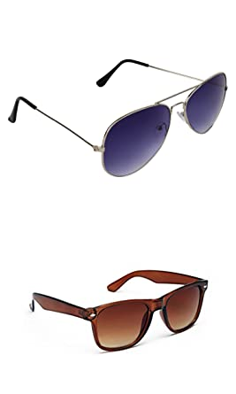 8eb6408b05 Image Unavailable. Image not available for. Colour  SHEOMY COMBO OF STYLISH  SILVER BLUE AVIATOR AND BROWN WAYFARER SUNGLASSES WITH 2 BOX ...