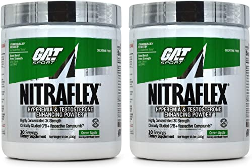 GAT Clinically Tested Nitraflex, Testosterone Enhancing Pre Workout Pack of Two 30 Servings Greenapple 2 X 30Svg