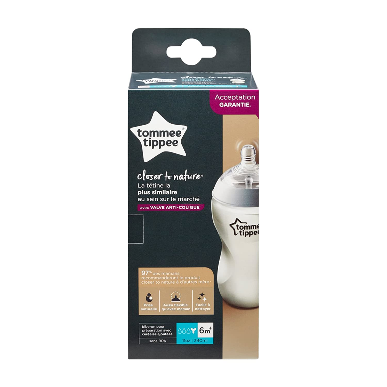 Easy Latch Nipple Y-Cut Nipple 11 Ounce 1 Count Tommee Tippee Closer to Nature Added Cereal Baby Bottle
