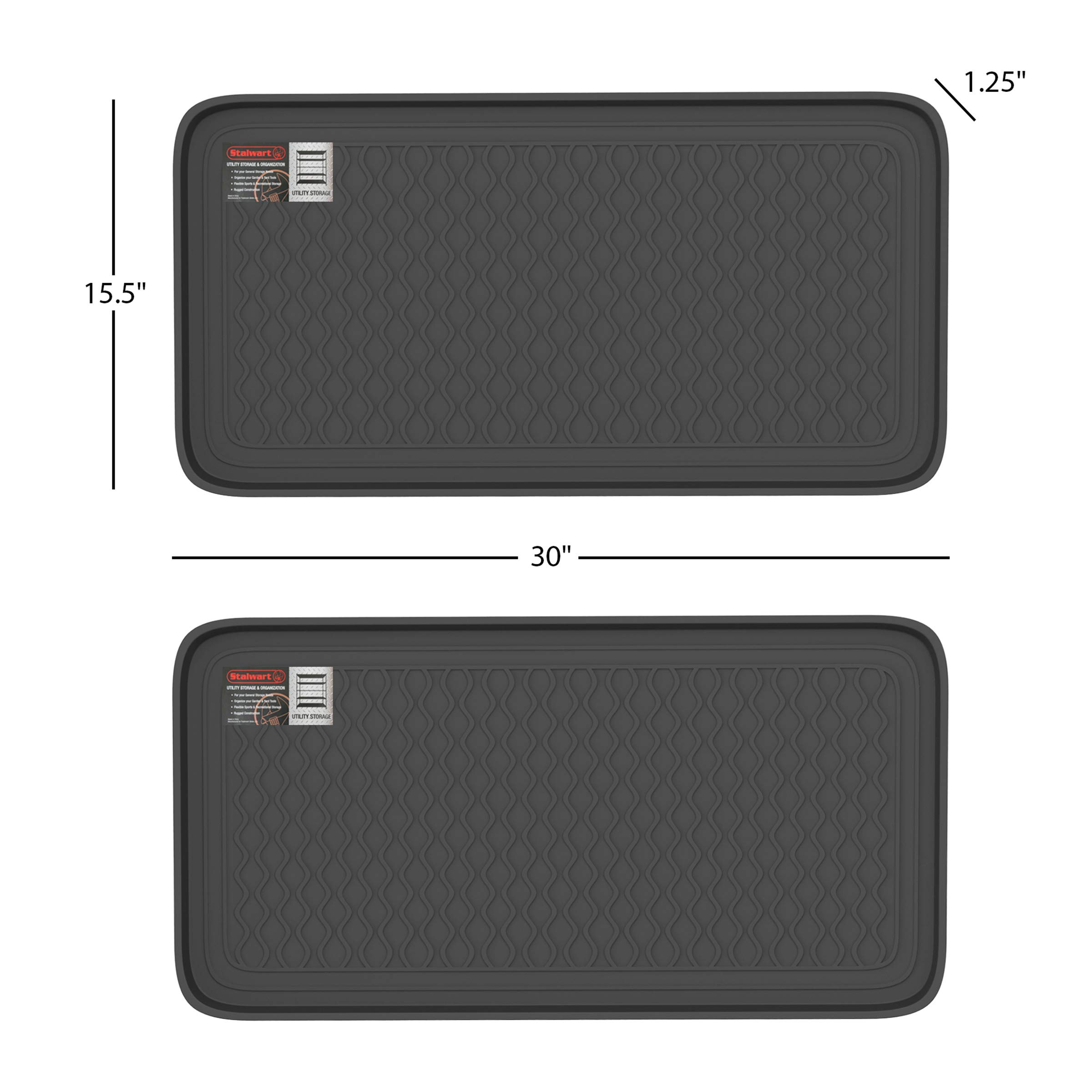 Stalwart 75-ST6102 Weather Boot Tray-Large Water Resistant Plastic Utility Shoe Mat for Indoor and Outdoor Use in All Seasons (Set of Two, Black) by Stalwart (Image #2)
